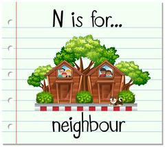 Flashcard letter N is for neighbour Stock Illustration
