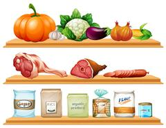 Food and ingredients on the shelf - stock illustration