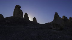 Time Lapse of Sunrise over Tufa Towers at Trona Pinnacles -Zoom Out- - stock footage