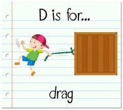 Flashcard letter D is for drag - stock illustration