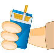 Cigarette pack in hand Stock Illustration
