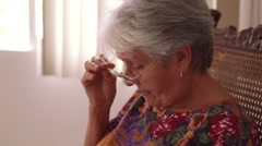3-Old Lady Problem Viewing Display Mobile Phone - stock footage