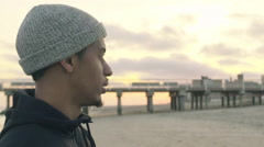 Young black male beach portrait Stock Footage