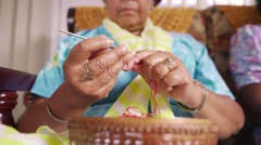 4-Senior Woman In Hospice Knitting Whool - stock footage