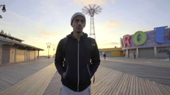 Man on the Coney Island Boardwalk Stock Footage
