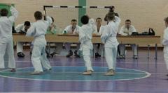 Children pass the exam in Karate Stock Footage