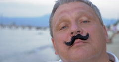 Mature Man with Funny False Moustache - stock footage