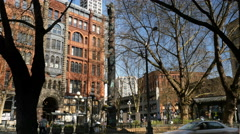 Pioneer Sq, Totem Pole, Seattle Stock Footage
