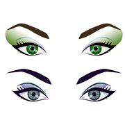 Set of realistic cartoon vector female eyes and brows - stock illustration