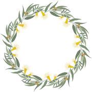 Eucalyptus wreath. Floral border frame - stock illustration