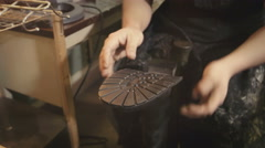 Shoemaker manual skill - stock footage