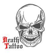 Skull sketch with spooky smile - stock illustration