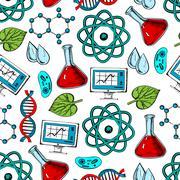 Science and genetics seamless pattern - stock illustration