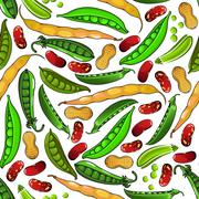 Green peas, peanuts and beans pattern Stock Illustration