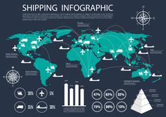 Global shipping and logistics infographics - stock illustration