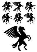 Rearing winged pegasus black horses Stock Illustration