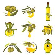 Fresh olive fruits and oil bottles symbols - stock illustration