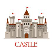 Stock Illustration of Gray medieval castle with turrets