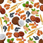 Nuts, seeds, legumes and cereal pattern Stock Illustration