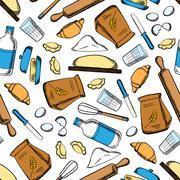 Baking ingredients and utensil pattern - stock illustration