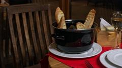 Luxury romantic dinner. Close up. Slider shoot - stock footage