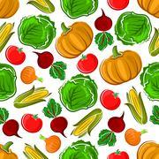 Ripe autumnal veggies seamless pattern - stock illustration