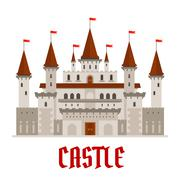 Medieval castle building with red flags - stock illustration