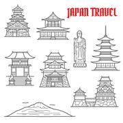 Japan travel landmarks thin line icons - stock illustration