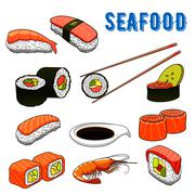 Appetizing japanese sushi and rolls seafood - stock illustration