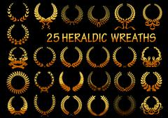 Heraldic golden laurel wreaths icons - stock illustration