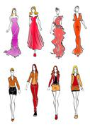 Women in evening and casual outfits - stock illustration
