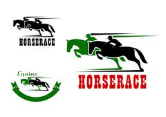 Horse race icons and equestrian sport Stock Illustration