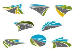 Highway, pathway and roads icons - stock illustration