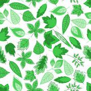 Green tree leaves seamless pattern Piirros