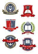 University, college and academy emblems - stock illustration