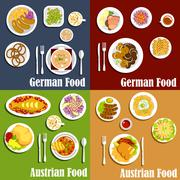 Austrian and german cuisine dishes Stock Illustration
