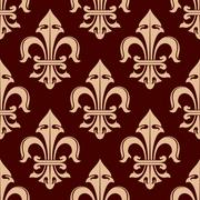 Stock Illustration of Royal fleur-de-lis brown seamless pattern