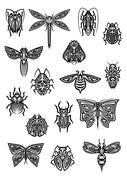 Insect animals tattoos and symbols Stock Illustration