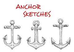 Stock Illustration of Marine ship anchors isolated sketches