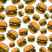 Seamless pattern with tasty cheeseburgers - stock illustration