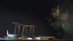 Singapore 50 years National Day dress rehearsal Marina Bay fireworks Stock Footage