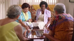 10-Senior Women Playing Card Game In Hospice - stock footage