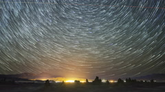 Astro Time Lapse of Star Trails over Trona Pinnacles -Zoom In- Stock Footage