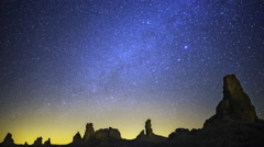Astrophotography Time Lapse of Milky Way over Tufa Formation -Tilt Up- - stock footage