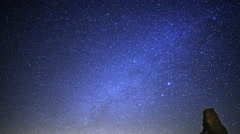 Stock Video Footage of Astrophotography Time Lapse of Milky Way over Tufa Formation -Tilt Down-