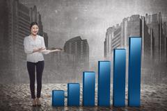 Asian business woman show increase chart Kuvituskuvat