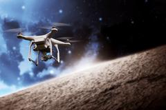 Drone Flying On The Outer Space Stock Photos