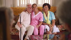 14-Portrait Of Nurse And Happy Old People In Hospice Stock Footage