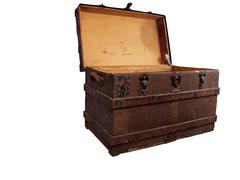 Antique chest sideview Stock Photos
