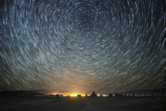 6K Astro Time Lapse of Star Trails over Trona Pinnacles  - stock footage